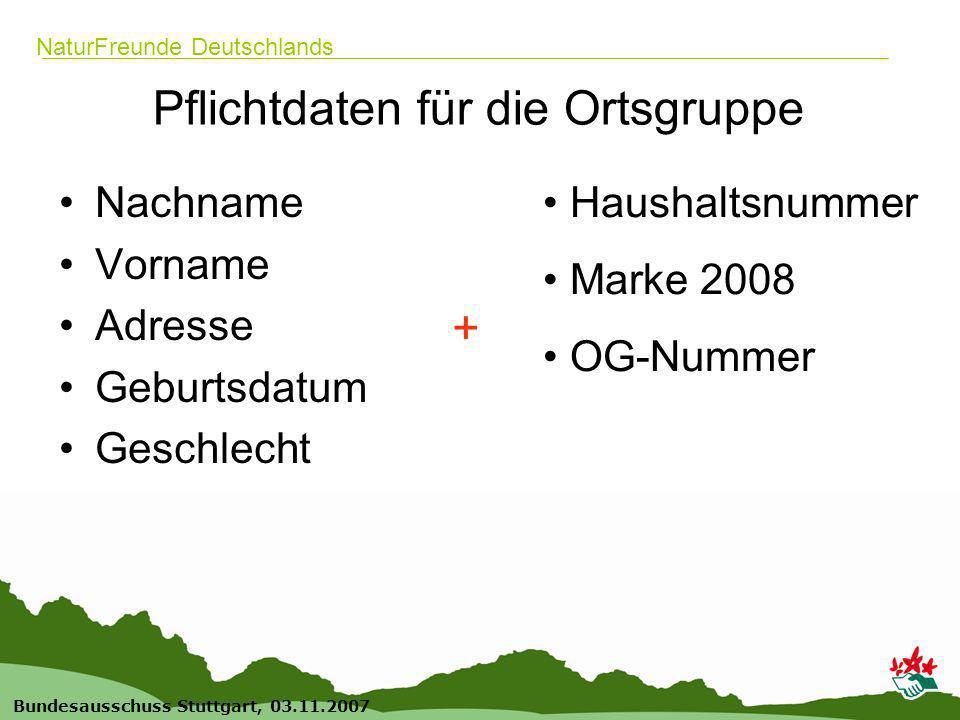 9 Bundesausschuss Stuttgart, 03.11.2007 NaturFreunde Deutschlands Pflichtdaten für die Ortsgruppe Nachname Vorname Adresse Geburtsdatum Geschlecht + Haushaltsnummer Marke 2008 OG-Nummer