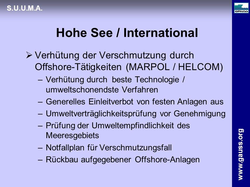 www.gauss.org S.U.U.M.A. Hohe See / International Verhütung der Verschmutzung durch Offshore-Tätigkeiten (MARPOL / HELCOM) –Verhütung durch beste Tech