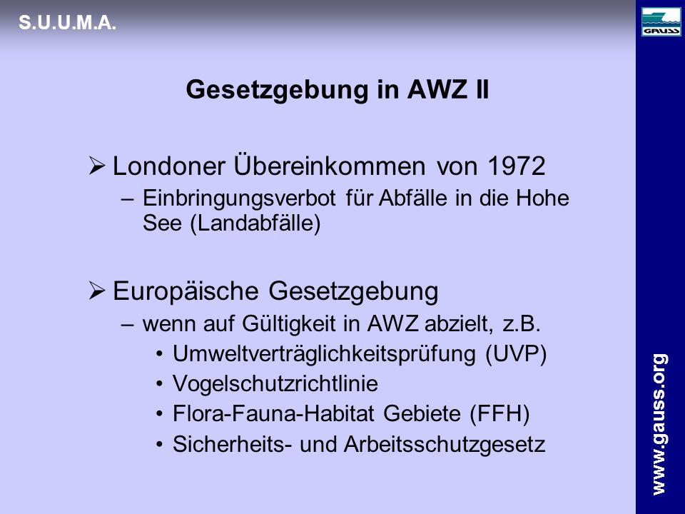 www.gauss.org S.U.U.M.A. Gesetzgebung in AWZ II Londoner Übereinkommen von 1972 –Einbringungsverbot für Abfälle in die Hohe See (Landabfälle) Europäis