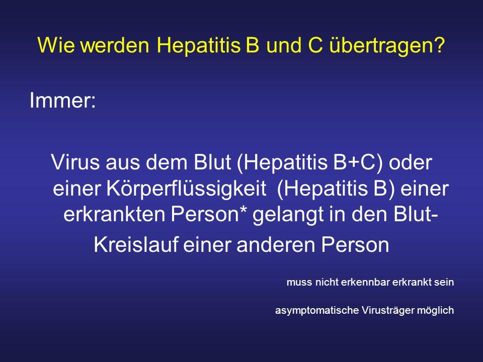 Wie werden Hepatitis B und C übertragen? Immer: Virus aus dem Blut (Hepatitis B+C) oder einer Körperflüssigkeit (Hepatitis B) einer erkrankten Person*