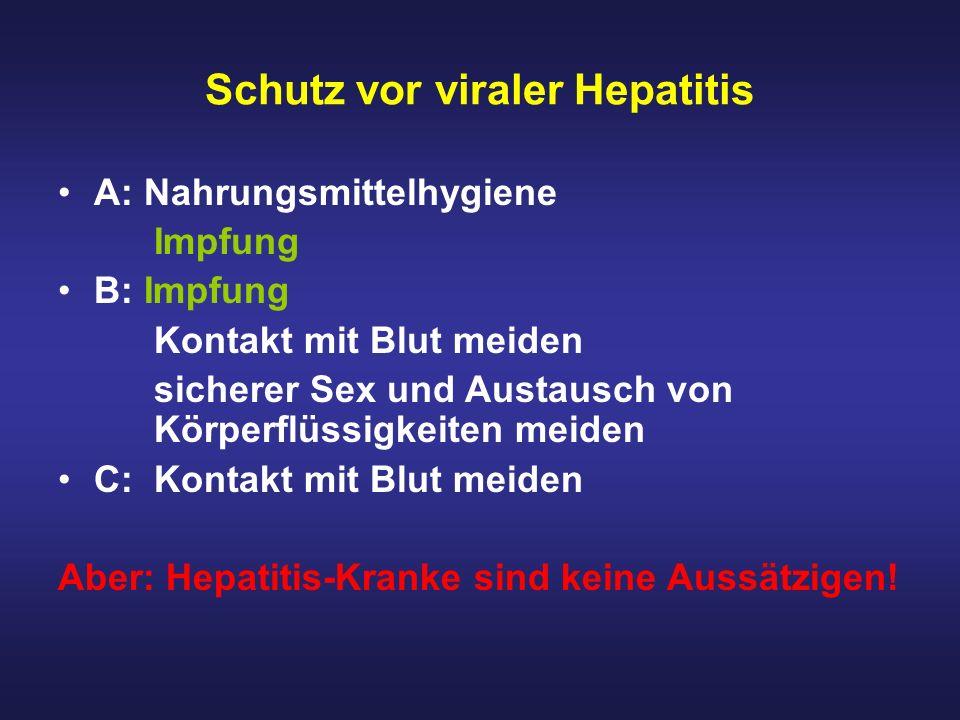 Schutz vor viraler Hepatitis A: Nahrungsmittelhygiene Impfung B: Impfung Kontakt mit Blut meiden sicherer Sex und Austausch von Körperflüssigkeiten me