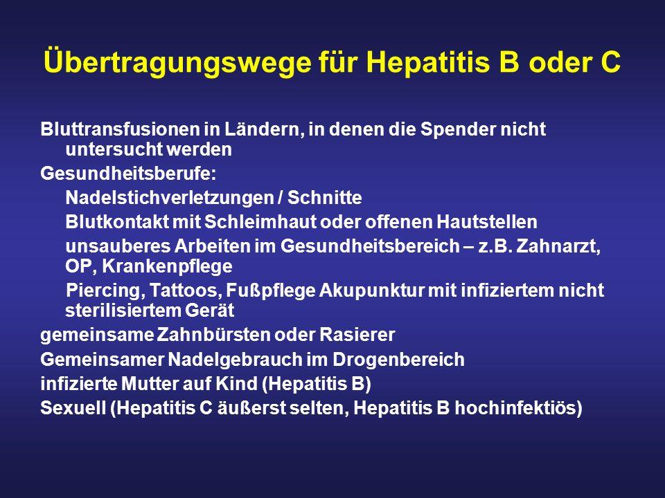 Übertragungswege für Hepatitis B oder C Bluttransfusionen in Ländern, in denen die Spender nicht untersucht werden Gesundheitsberufe: Nadelstichverlet