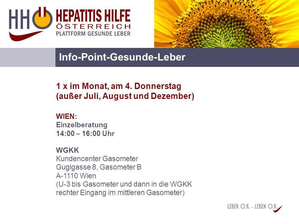 Info-Point-Gesunde-Leber 1 x im Monat, am 4. Donnerstag (außer Juli, August und Dezember) WIEN: Einzelberatung 14:00 – 16:00 Uhr WGKK Kundencenter Gas