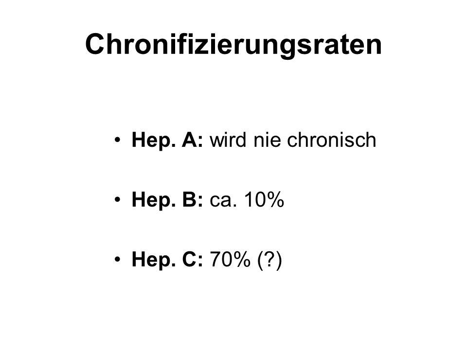 Chronifizierungsraten Hep. A: wird nie chronisch Hep. B: ca. 10% Hep. C: 70% (?)