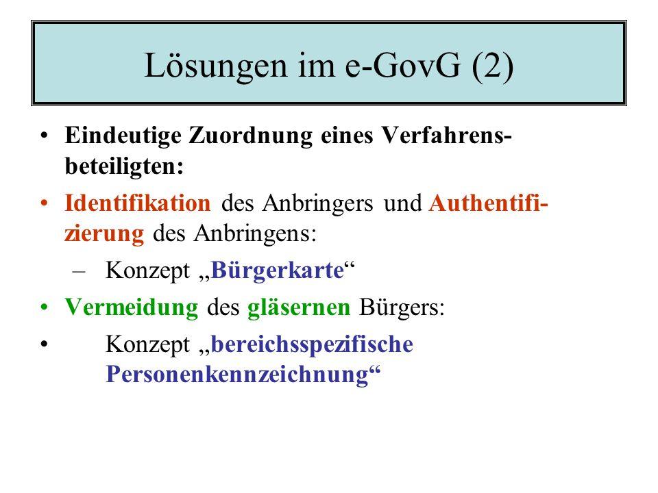 Lösungen im e-GovG (1) Zulässige technische Formen der Kommuni- kation: Konkrete Feststellung durch Verordnung Grundsatz der Nutzung technischer Mögli