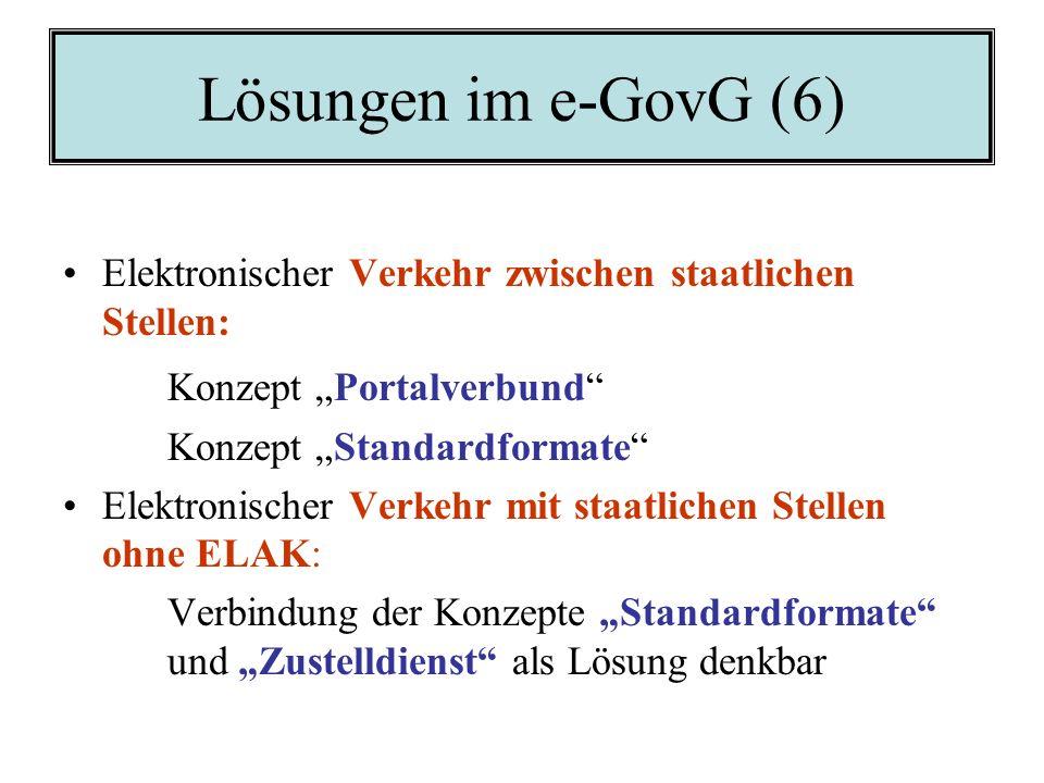 Lösungen im e-GovG (5) Elektronische Zustellung: Das Konzept Zustelldienst Elektronische Archivierung: Das Konzept Standardformate