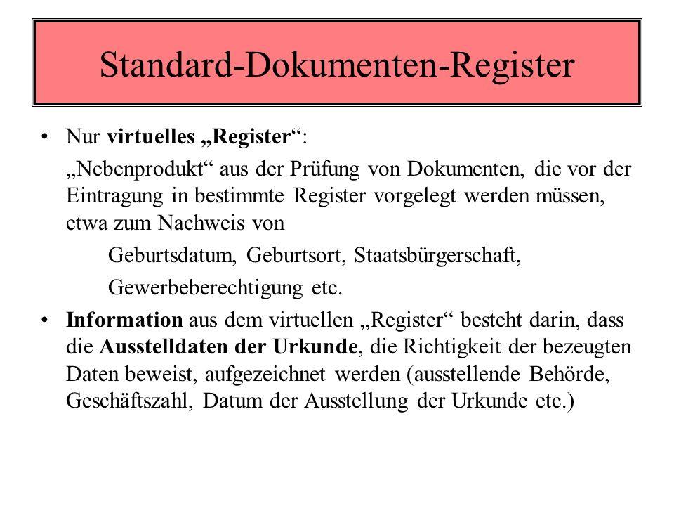 Standard-Dokumenten-Register Elektronische Dokumente sind vielfach bei den Behörden vorhanden oder wurden zumindest geprüft anlässlich einer Verwaltungshandlung Anläßlich der Prüfung der Dokumente kann die geprüfte Richtigkeit elektronisch angemerkt werden von Amts wegen bei jedem Eintragungsvorgang auf Antrag des Betroffenen unabhängig von einem Eintragungsvorgang Auf einen solchen Prüfvermerk kann elektronisch zugegriffen werden als Nachweis der Richtigkeit eines bestimmten personenbezogenen Datums