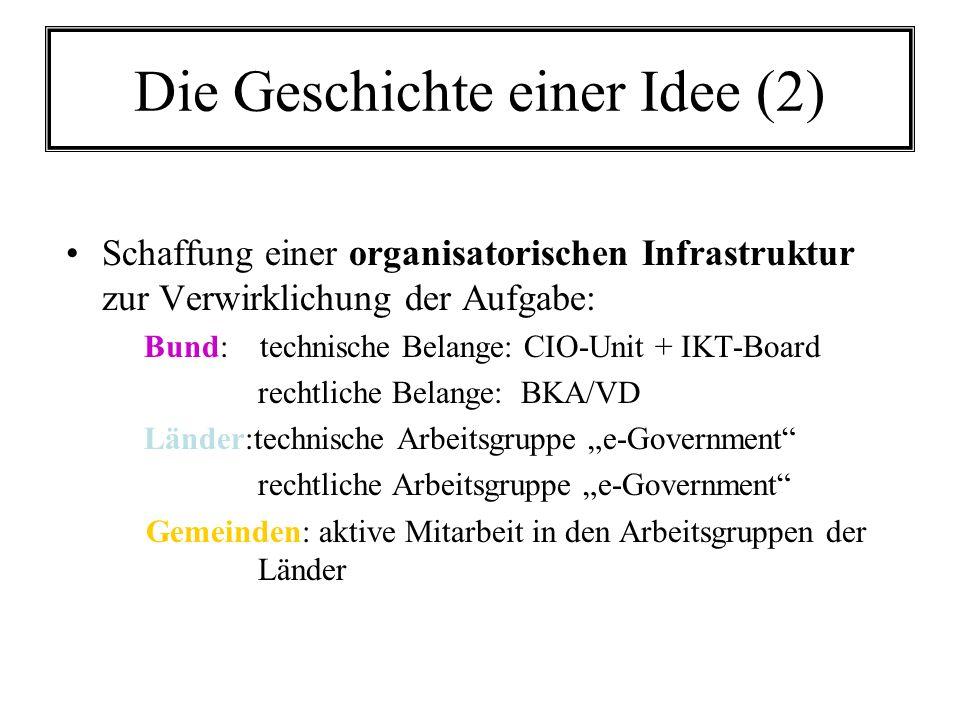 Die Geschichte einer Idee (2) Schaffung einer organisatorischen Infrastruktur zur Verwirklichung der Aufgabe: Bund: technische Belange: CIO-Unit + IKT-Board rechtliche Belange: BKA/VD Länder:technische Arbeitsgruppe e-Government rechtliche Arbeitsgruppe e-Government Gemeinden: aktive Mitarbeit in den Arbeitsgruppen der Länder