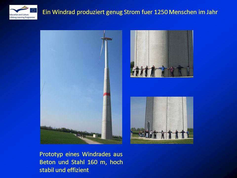 Prototyp eines Windrades aus Beton und Stahl 160 m, hoch stabil und effizient Ein Windrad produziert genug Strom fuer 1250 Menschen im Jahr