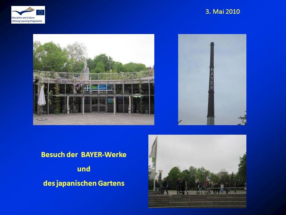 3. Mai 2010 Besuch der BAYER-Werke und des japanischen Gartens