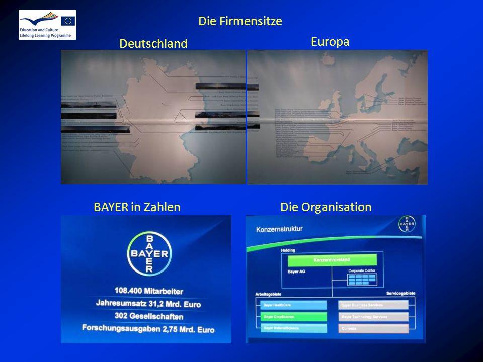 Deutschland BAYER in ZahlenDie Organisation Europa Die Firmensitze