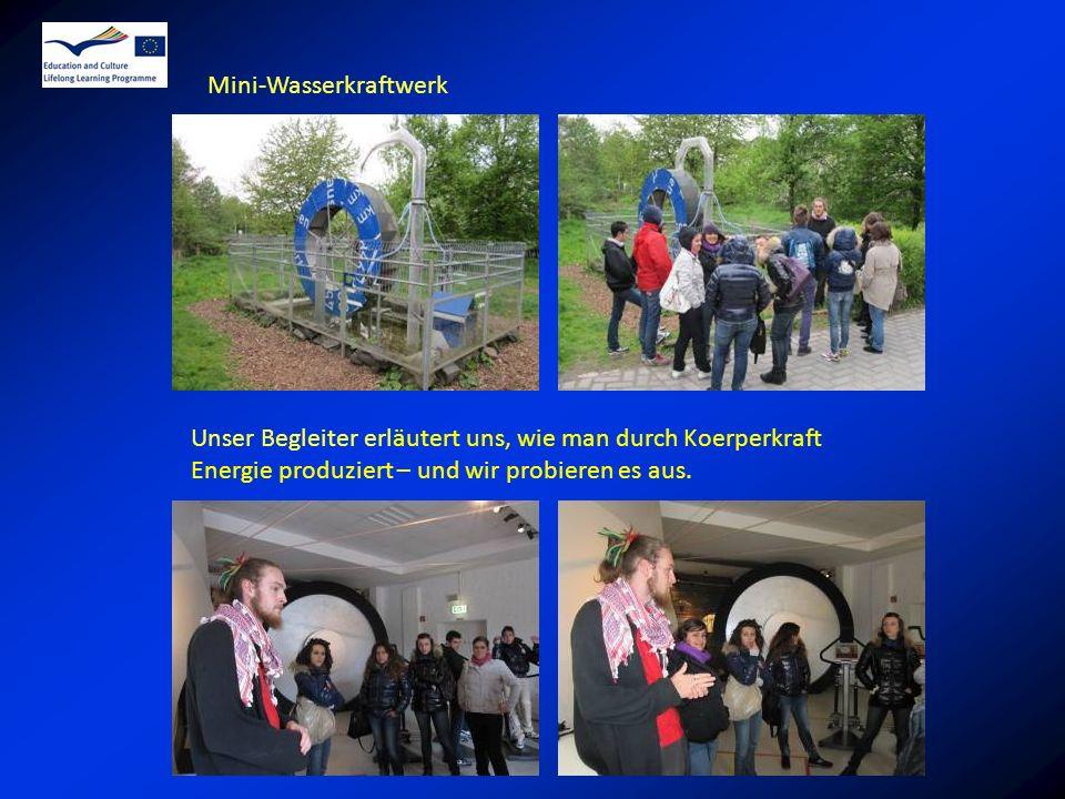 Mini-Wasserkraftwerk Unser Begleiter erläutert uns, wie man durch Koerperkraft Energie produziert – und wir probieren es aus.