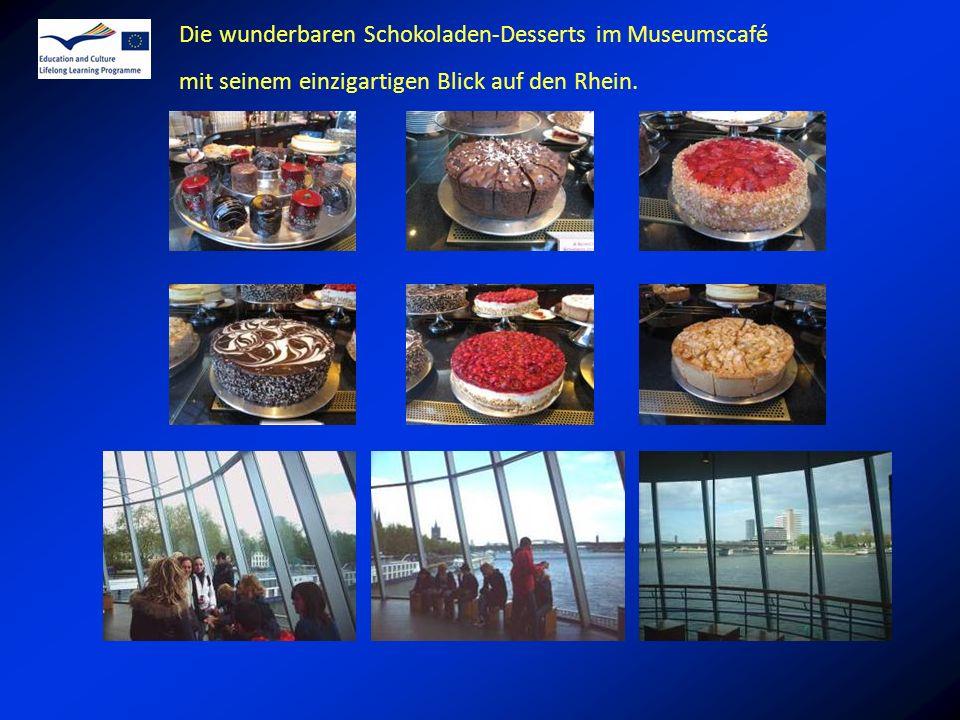 Die wunderbaren Schokoladen-Desserts im Museumscafé mit seinem einzigartigen Blick auf den Rhein.