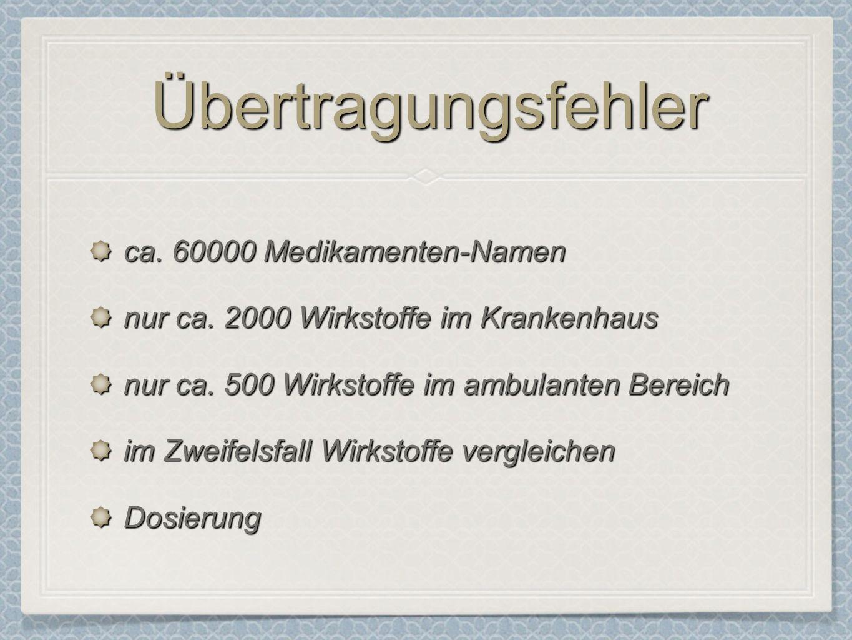 ÜbertragungsfehlerÜbertragungsfehler ca.60000 Medikamenten-Namen nur ca.