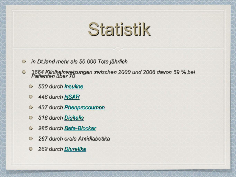StatistikStatistik in Dt.land mehr als 50.000 Tote jährlich 3664 Klinikeinweisungen zwischen 2000 und 2006 davon 59 % bei Patienten über 70 530 durch