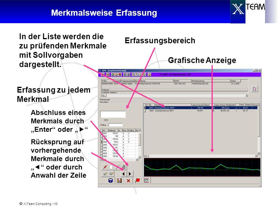 X-Team Consulting / 10 Merkmalsweise Erfassung Erfassungsbereich In der Liste werden die zu prüfenden Merkmale mit Sollvorgaben dargestellt. Erfassung