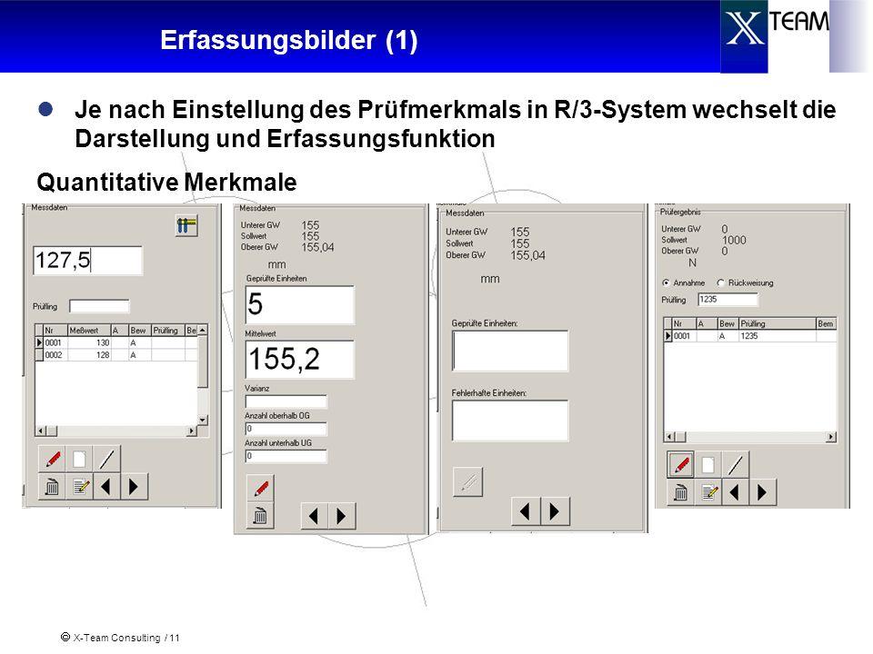 X-Team Consulting / 11 Erfassungsbilder (1) Je nach Einstellung des Prüfmerkmals in R/3-System wechselt die Darstellung und Erfassungsfunktion Quantit