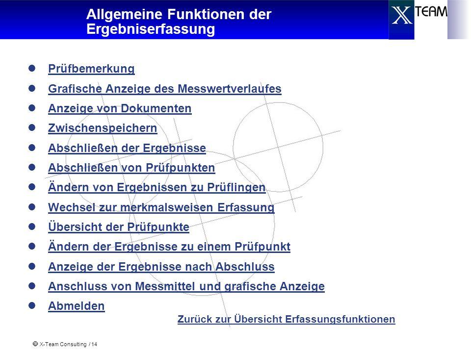 X-Team Consulting / 14 Allgemeine Funktionen der Ergebniserfassung Prüfbemerkung Grafische Anzeige des Messwertverlaufes Anzeige von Dokumenten Zwisch