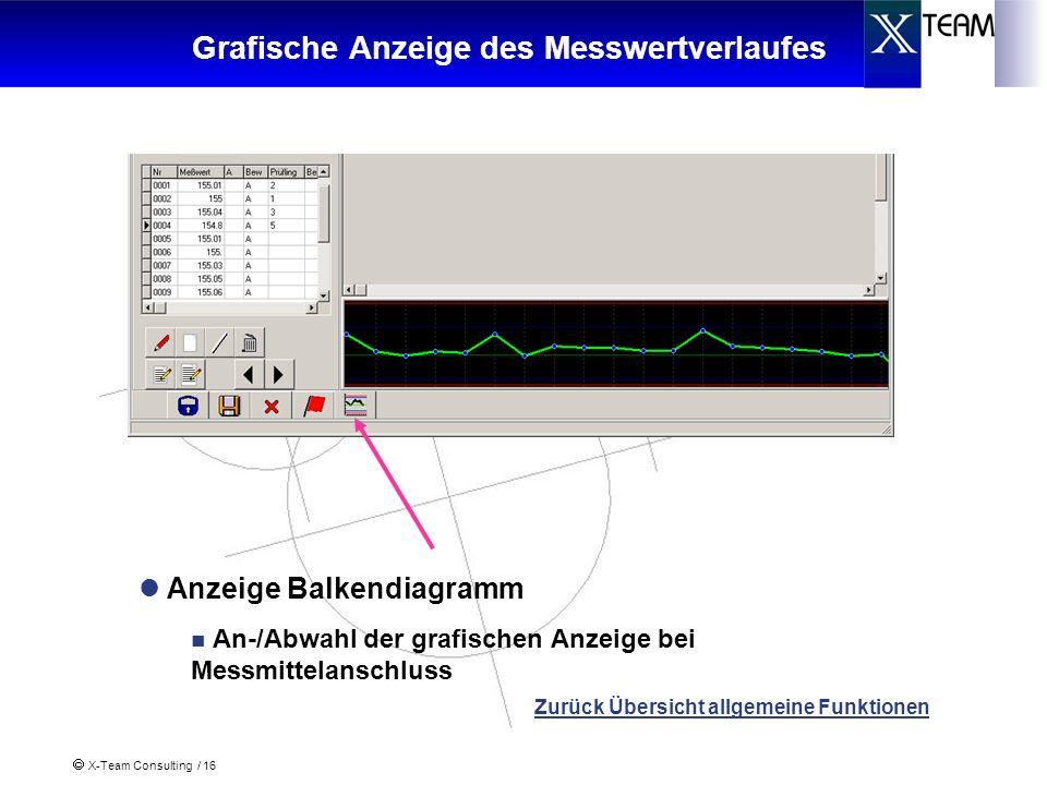 X-Team Consulting / 16 Grafische Anzeige des Messwertverlaufes Anzeige Balkendiagramm An-/Abwahl der grafischen Anzeige bei Messmittelanschluss Zurück