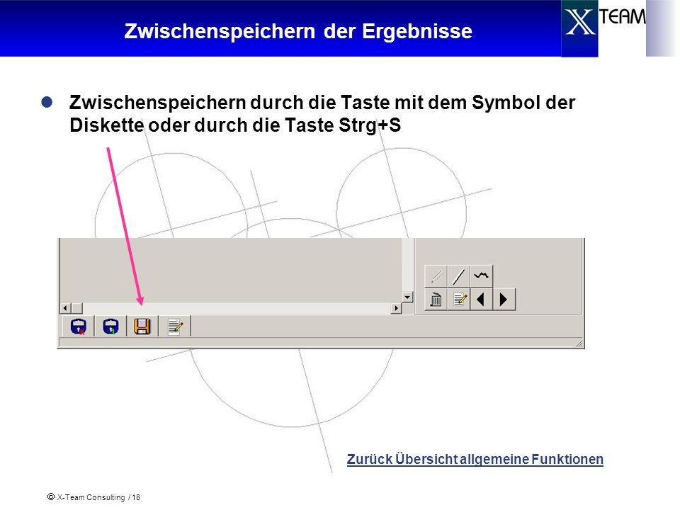 X-Team Consulting / 18 Zwischenspeichern der Ergebnisse Zwischenspeichern durch die Taste mit dem Symbol der Diskette oder durch die Taste Strg+S Zurü