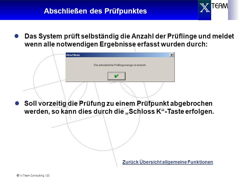 X-Team Consulting / 20 Abschließen des Prüfpunktes Das System prüft selbständig die Anzahl der Prüflinge und meldet wenn alle notwendigen Ergebnisse e