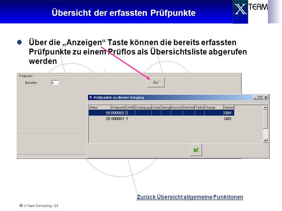 X-Team Consulting / 23 Übersicht der erfassten Prüfpunkte Über die Anzeigen Taste können die bereits erfassten Prüfpunkte zu einem Prüflos als Übersic