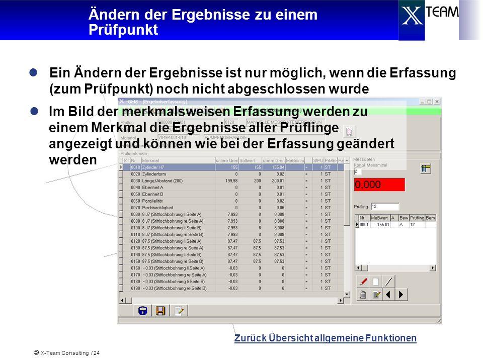 X-Team Consulting / 24 Ändern der Ergebnisse zu einem Prüfpunkt Ein Ändern der Ergebnisse ist nur möglich, wenn die Erfassung (zum Prüfpunkt) noch nic