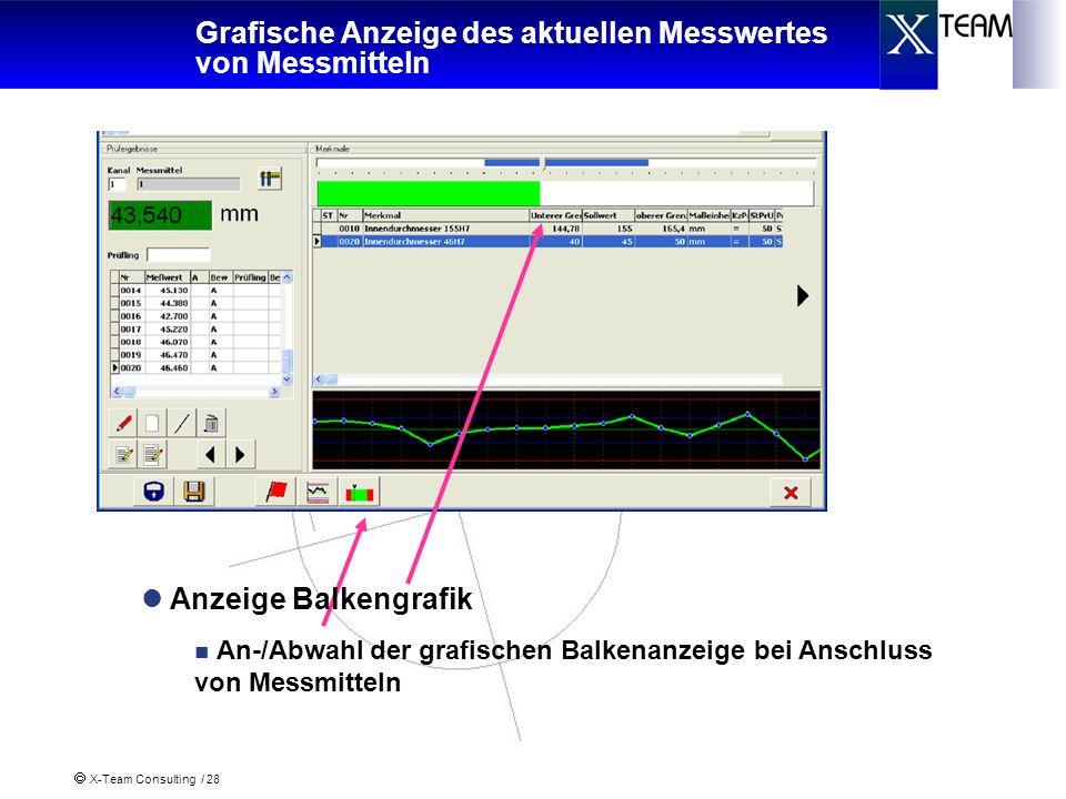 X-Team Consulting / 28 Grafische Anzeige des aktuellen Messwertes von Messmitteln Anzeige Balkengrafik An-/Abwahl der grafischen Balkenanzeige bei Ans