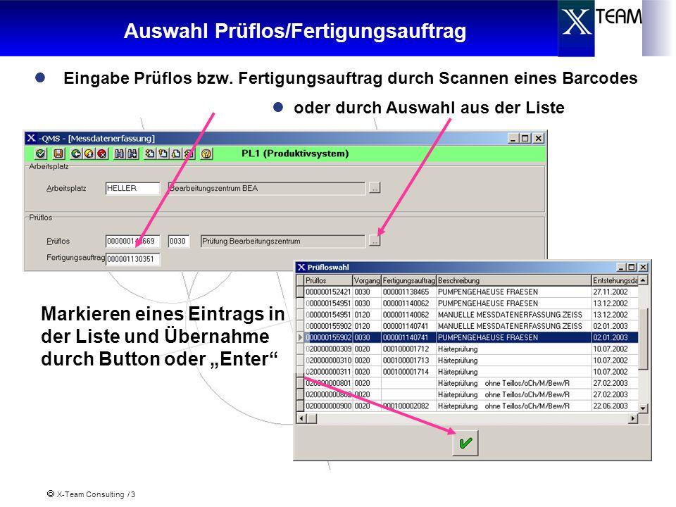 X-Team Consulting / 3 Auswahl Prüflos/Fertigungsauftrag Eingabe Prüflos bzw. Fertigungsauftrag durch Scannen eines Barcodes Markieren eines Eintrags i