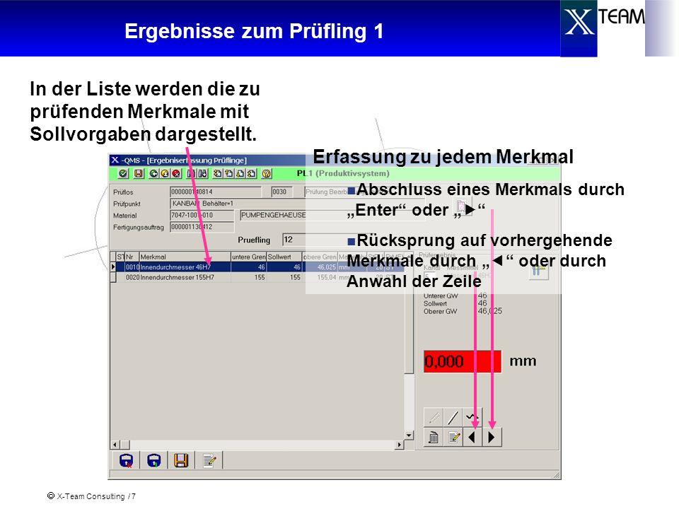 X-Team Consulting / 7 Ergebnisse zum Prüfling 1 In der Liste werden die zu prüfenden Merkmale mit Sollvorgaben dargestellt. Erfassung zu jedem Merkmal