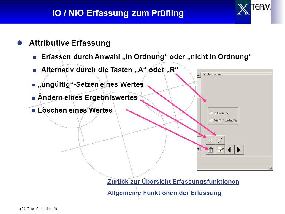 X-Team Consulting / 9 IO / NIO Erfassung zum Prüfling Zurück zur Übersicht Erfassungsfunktionen Allgemeine Funktionen der Erfassung Attributive Erfass