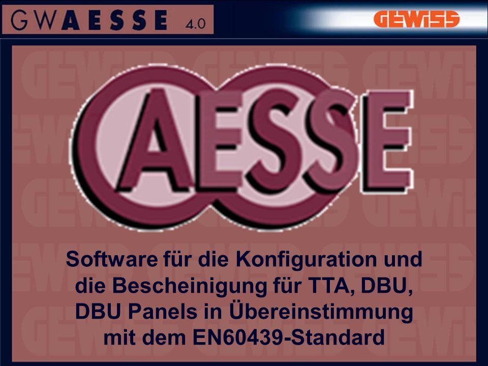 Software für die Konfiguration und die Bescheinigung für TTA, DBU, DBU Panels in Übereinstimmung mit dem EN60439-Standard
