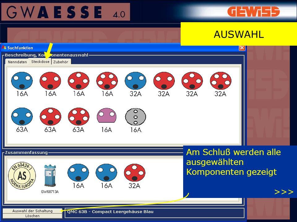 Am Schluß werden alle ausgewählten Komponenten gezeigt >>> AUSWAHL