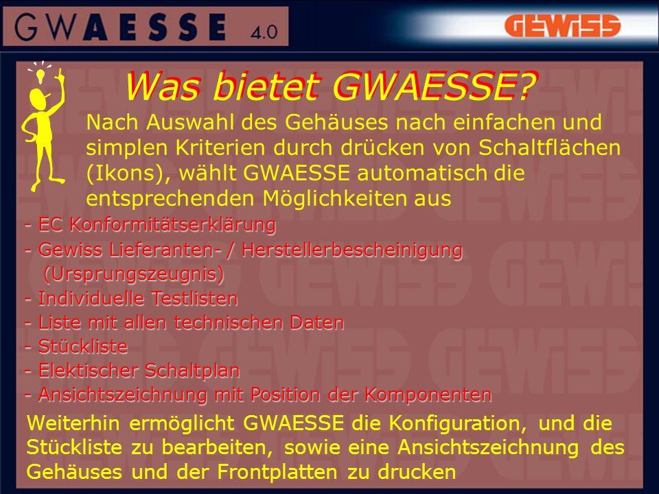 Was bietet GWAESSE? - EC Konformitätserklärung - Gewiss Lieferanten- / Herstellerbescheinigung (Ursprungszeugnis) (Ursprungszeugnis) - Individuelle Te