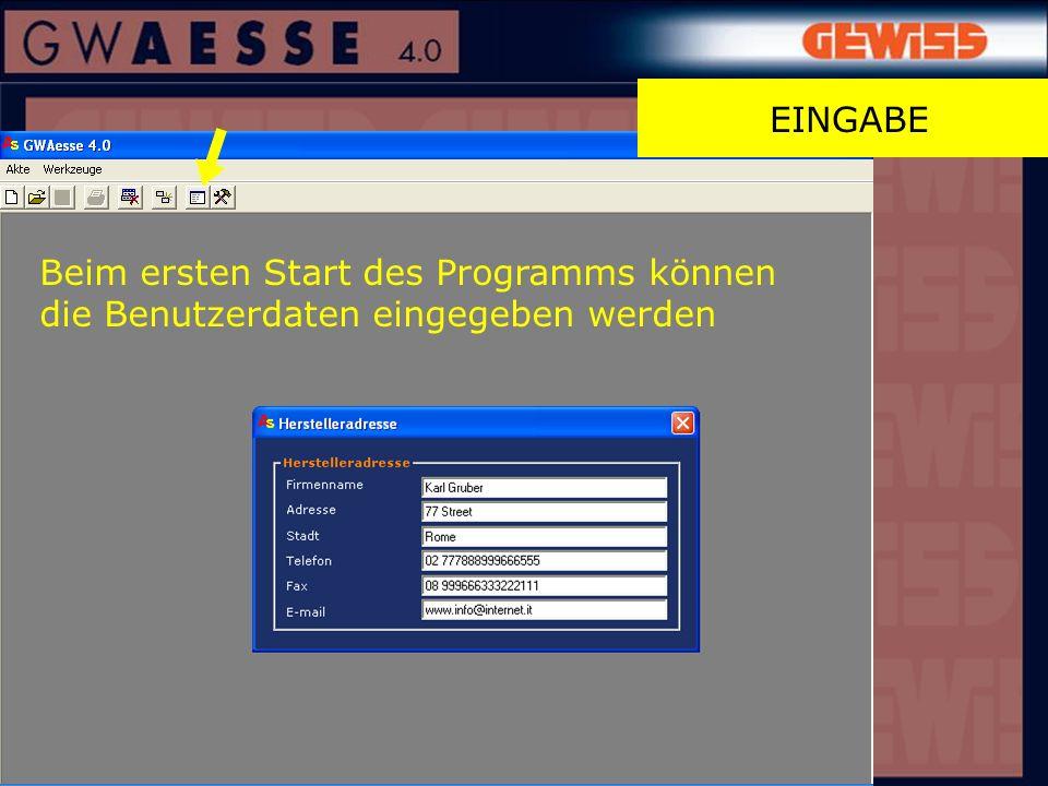 Beim ersten Start des Programms können die Benutzerdaten eingegeben werden EINGABE