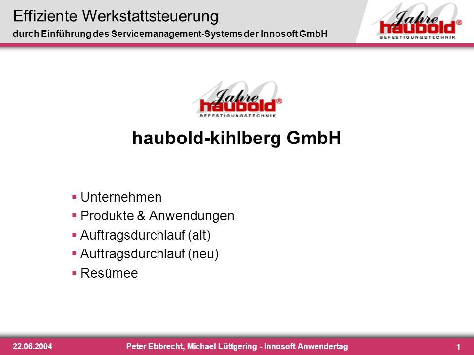 Effiziente Werkstattsteuerung durch Einführung des Servicemanagement-Systems der Innosoft GmbH 1 22.06.2004Peter Ebbrecht, Michael Lüttgering - Innoso