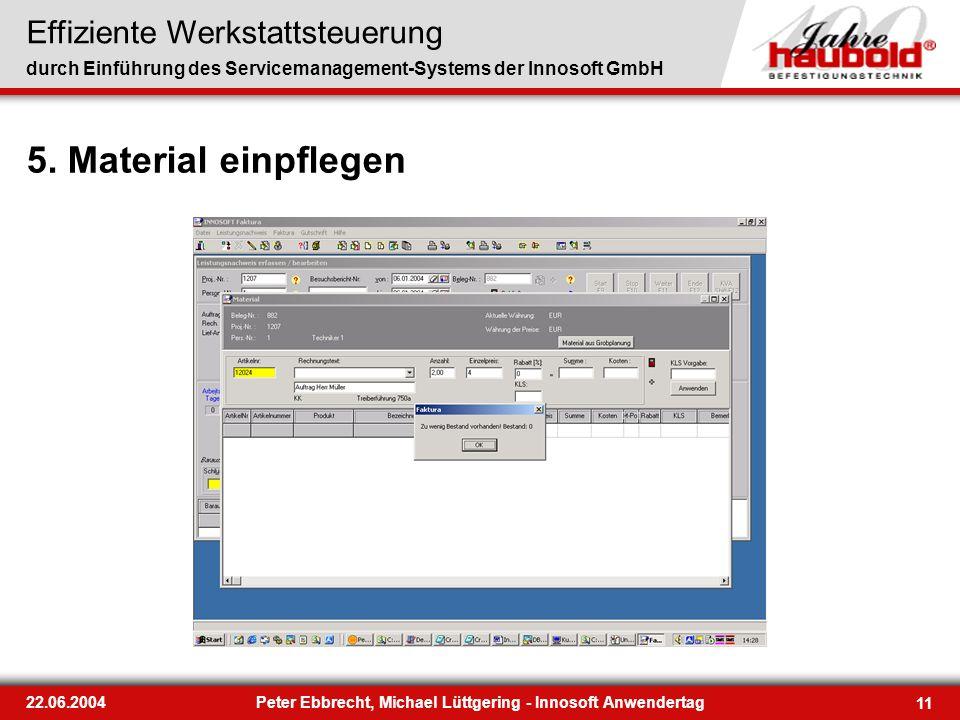 Effiziente Werkstattsteuerung durch Einführung des Servicemanagement-Systems der Innosoft GmbH 11 22.06.2004Peter Ebbrecht, Michael Lüttgering - Innos