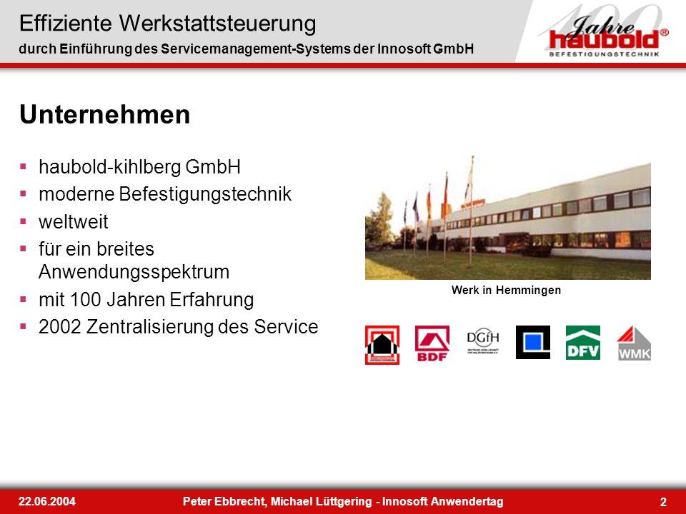 Effiziente Werkstattsteuerung durch Einführung des Servicemanagement-Systems der Innosoft GmbH 2 22.06.2004Peter Ebbrecht, Michael Lüttgering - Innoso