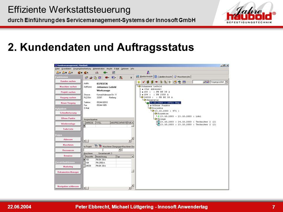 Effiziente Werkstattsteuerung durch Einführung des Servicemanagement-Systems der Innosoft GmbH 7 22.06.2004Peter Ebbrecht, Michael Lüttgering - Innoso