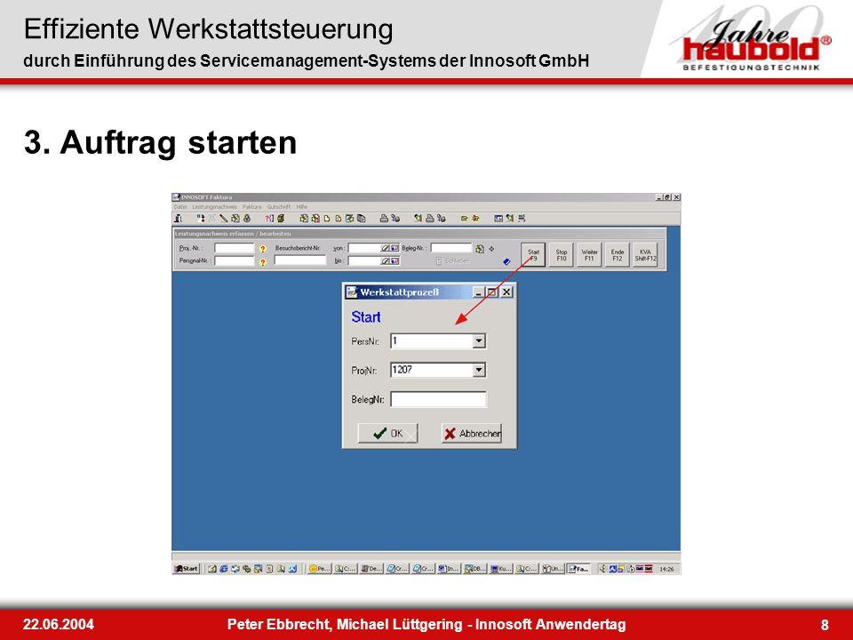 Effiziente Werkstattsteuerung durch Einführung des Servicemanagement-Systems der Innosoft GmbH 8 22.06.2004Peter Ebbrecht, Michael Lüttgering - Innoso