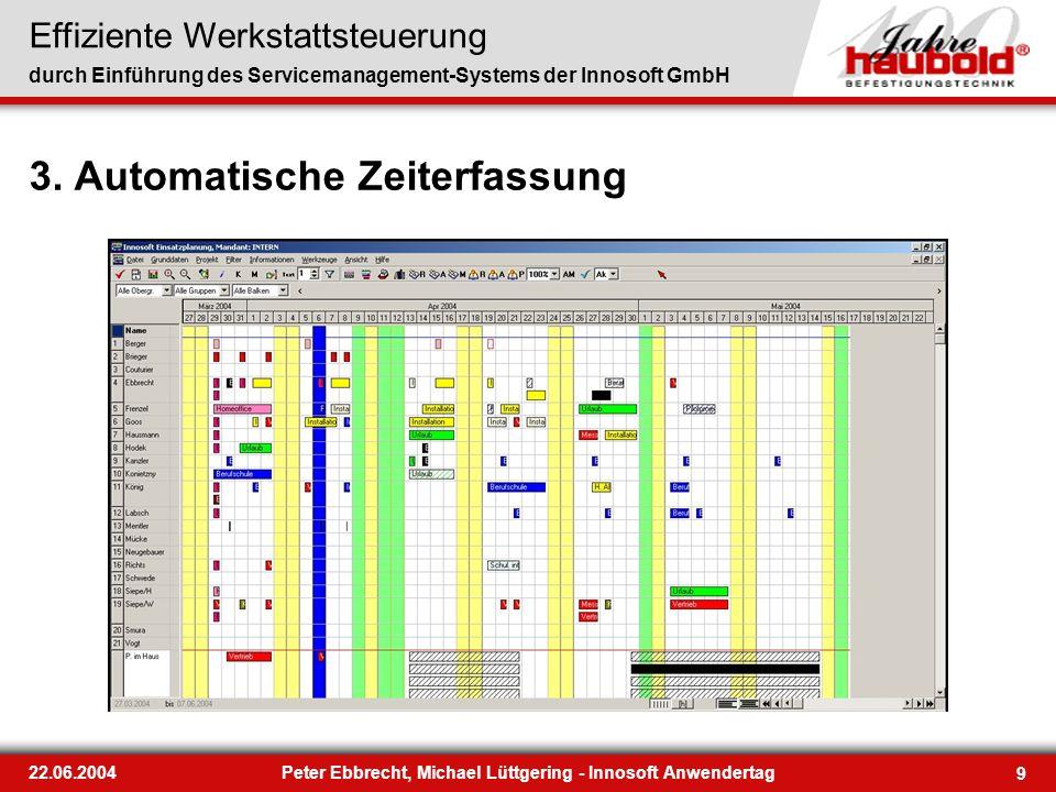 Effiziente Werkstattsteuerung durch Einführung des Servicemanagement-Systems der Innosoft GmbH 9 22.06.2004Peter Ebbrecht, Michael Lüttgering - Innoso
