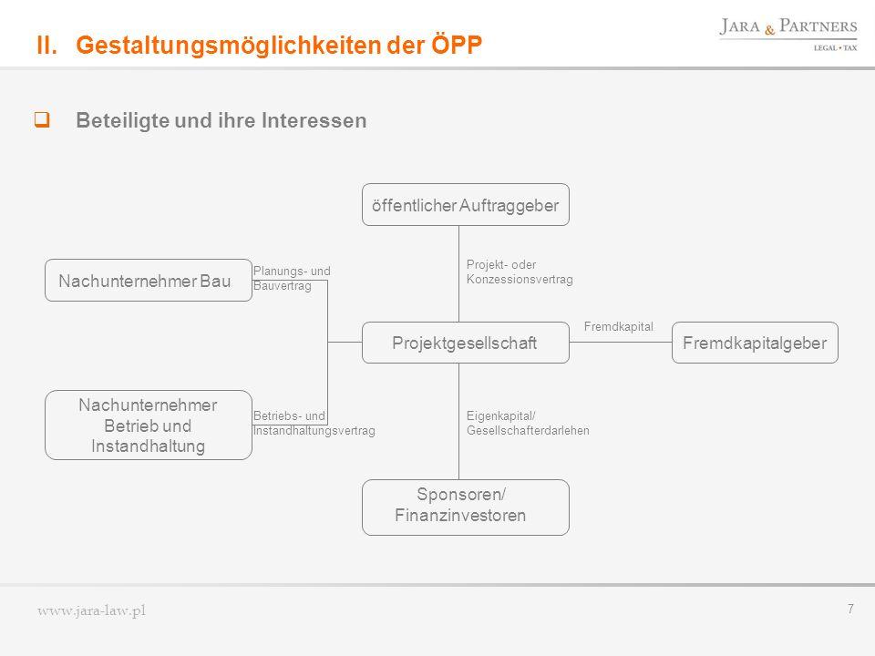 www.jara-law.pl 8 Gestaltungsmöglichkeiten der ÖPP Vertrag II.