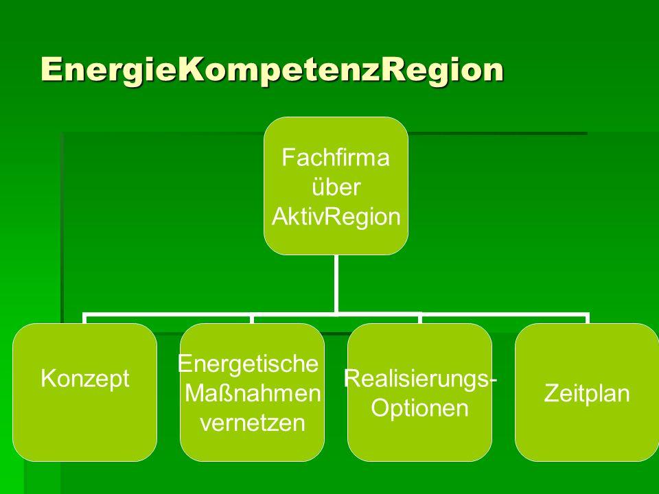 EnergieKompetenzRegion Fachfirma über AktivRegion Konzept Energetische Maßnahmen vernetzen Realisierungs- Optionen Zeitplan
