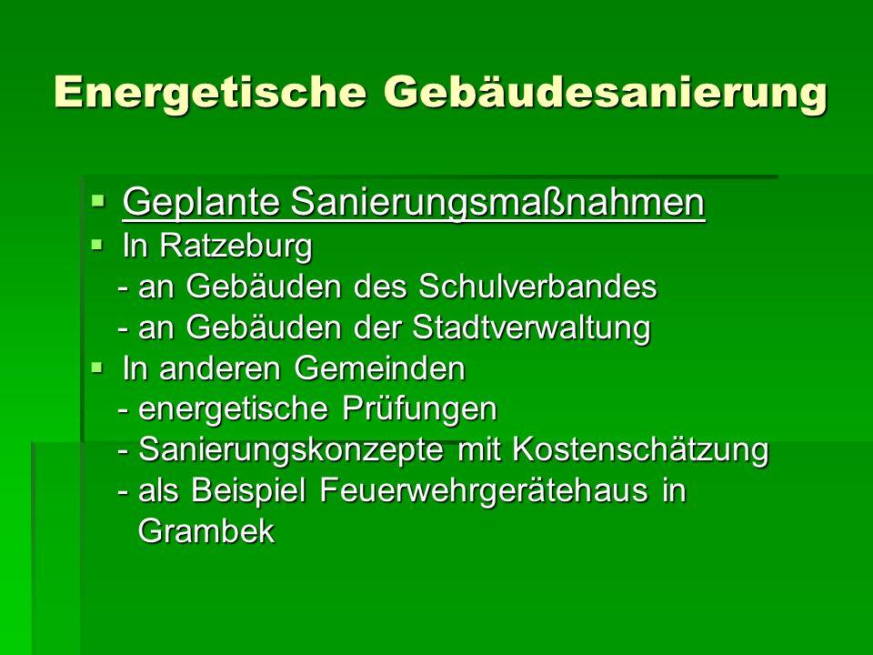 Energetische Gebäudesanierung Ziele -Bündelung der Sanierungsprojekte und -Sanierungsmaßnahmen -Angliederung an das Gesamtkonzept ENERGIEEINSPARUNG ENERGIEEINSPARUNG