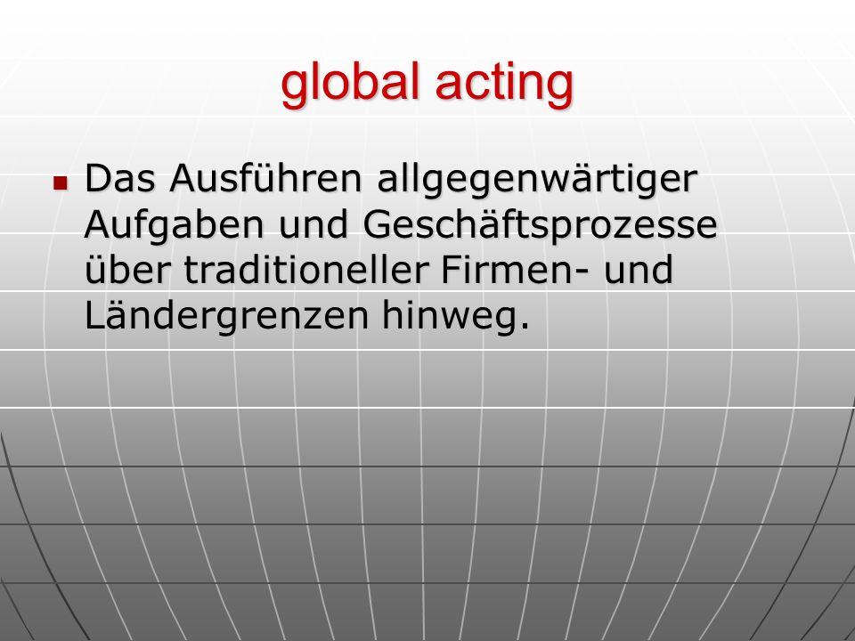 global acting Das Ausführen allgegenwärtiger Aufgaben und Geschäftsprozesse über traditioneller Firmen- und Ländergrenzen hinweg. Das Ausführen allgeg