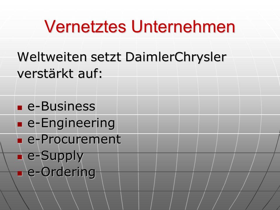 Vernetztes Unternehmen Weltweiten setzt DaimlerChrysler verstärkt auf: e-Business e-Business e-Engineering e-Engineering e-Procurement e-Procurement e