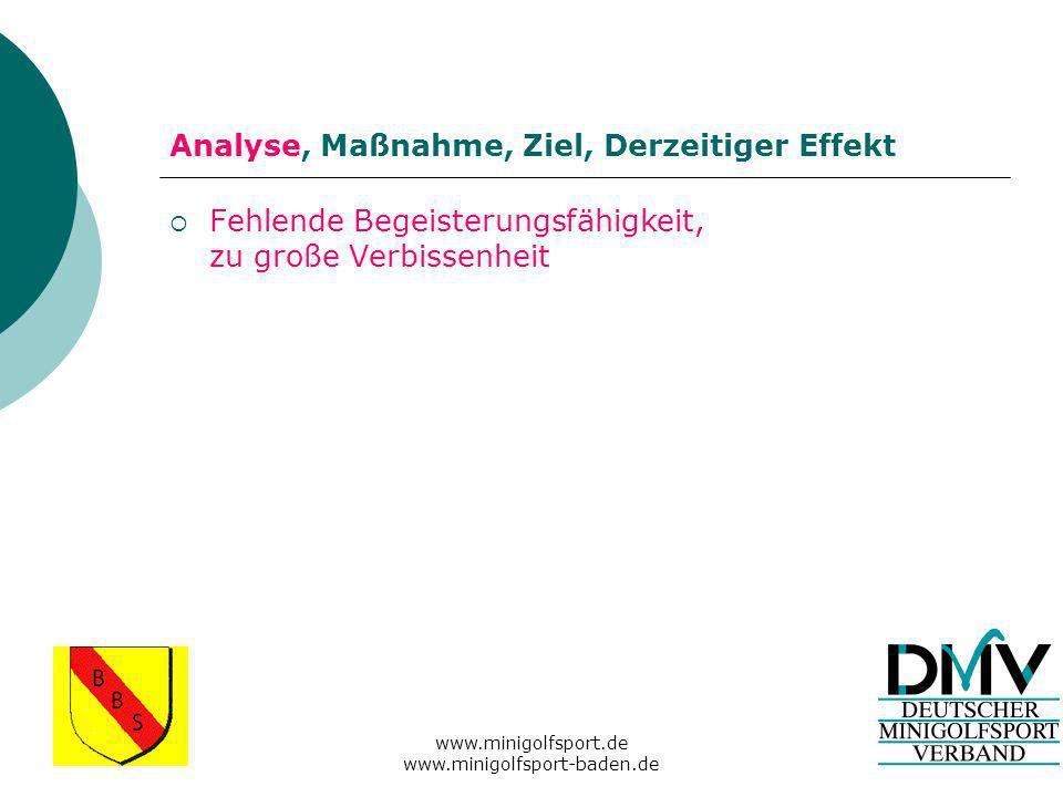 www.minigolfsport.de www.minigolfsport-baden.de Analyse, Maßnahme, Ziel, Derzeitiger Effekt Fehlende Begeisterungsfähigkeit, zu große Verbissenheit
