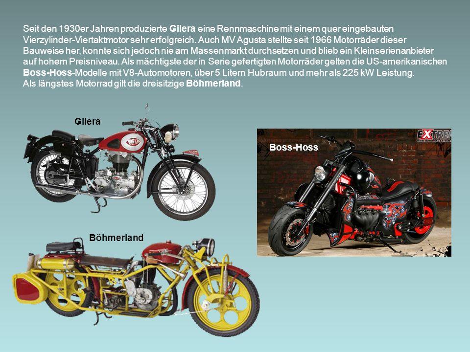 Seit den 1930er Jahren produzierte Gilera eine Rennmaschine mit einem quer eingebauten Vierzylinder-Viertaktmotor sehr erfolgreich.