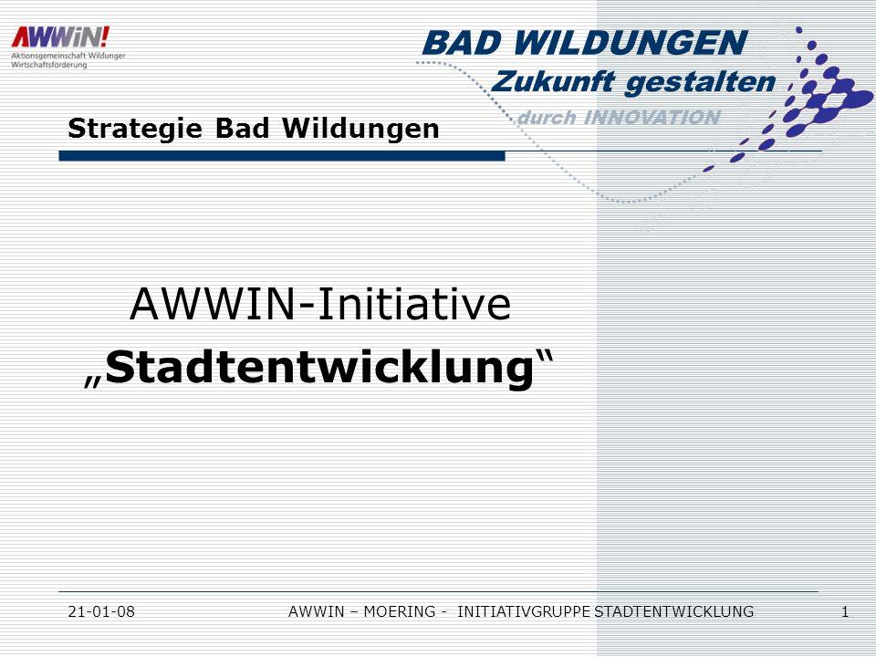Zukunft gestalten durch INNOVATION BAD WILDUNGEN 21-01-08AWWIN – MOERING - INITIATIVGRUPPE STADTENTWICKLUNG 1 Strategie Bad Wildungen AWWIN-Initiative