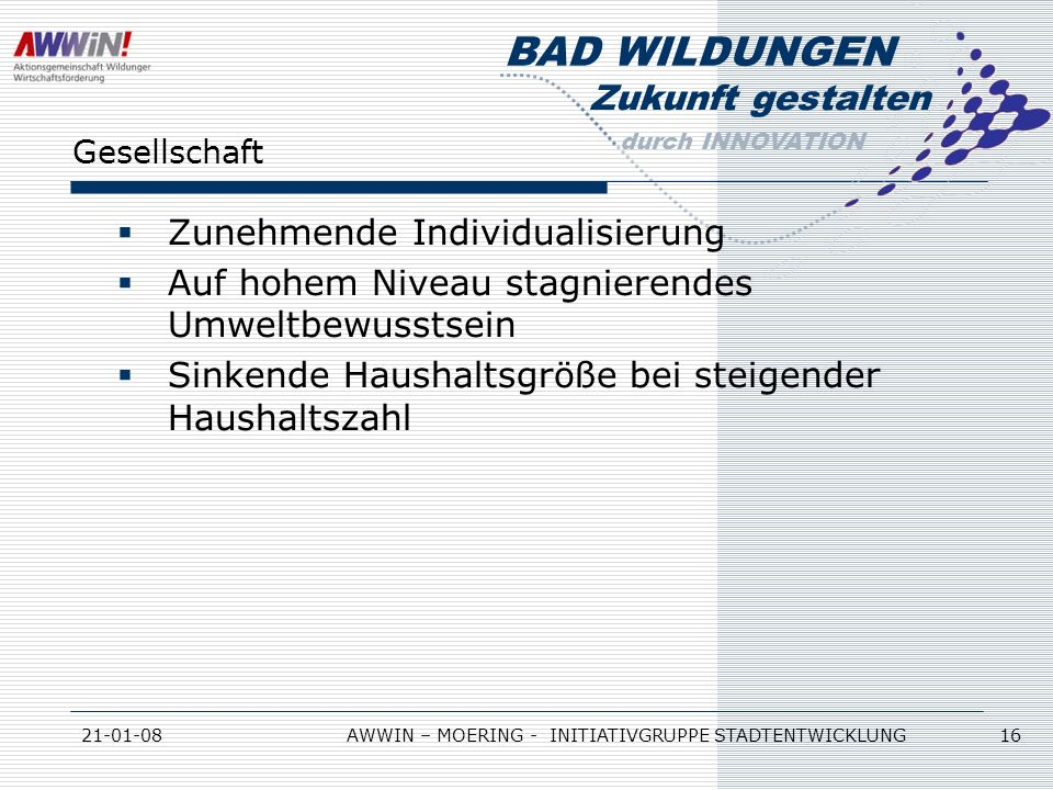 Zukunft gestalten durch INNOVATION BAD WILDUNGEN 21-01-08AWWIN – MOERING - INITIATIVGRUPPE STADTENTWICKLUNG 16 Gesellschaft Zunehmende Individualisier